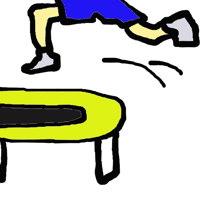 【トランポリン】伸縮性と耐久性の高い布地を四角や丸の枠にばねで張り、その上で飛び跳ねるスポーツ。また、その器具。
