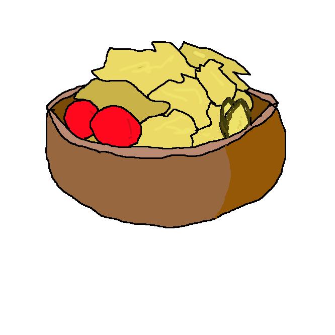 生野菜またはゆで野菜に、冷肉・ハム・魚介・卵・果物などを取り合わせ、ドレッシングで調味した料理。