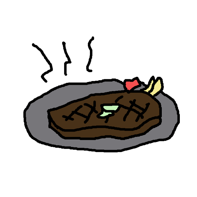 【steak】厚切りの肉や魚を焼いた料理。ふつうはビーフステーキをいう。