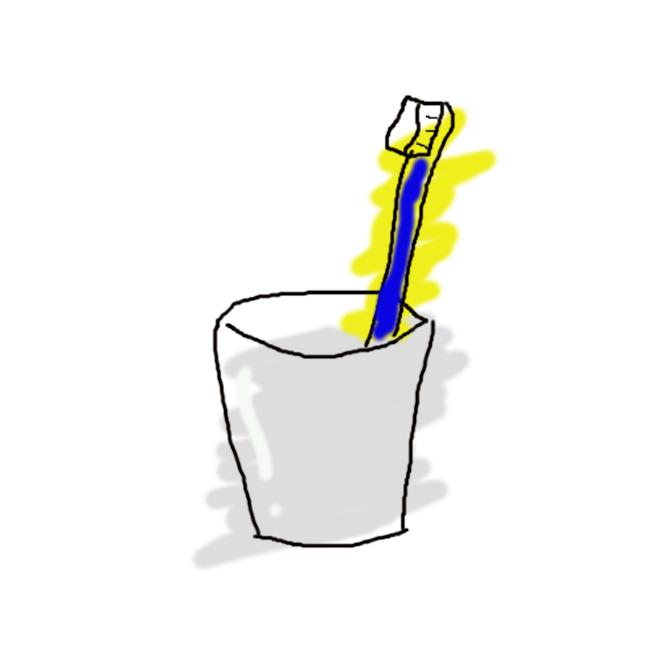 【歯ブラシ】歯磨きもしくは入れ歯磨きに使用する、小型ブラシである。歯刷子とも言う。一般的な製品は柄の先端の片側に数十本ごとに束ねられた繊維が複数植えつけられていて、その摩擦によって歯垢などの汚れを落とす。