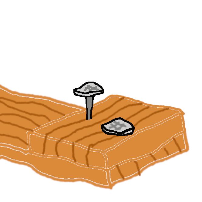 【釘】一端をとがらせた金属や竹・木などの細い棒。打ち込んで物と物とを接合・固定したり、物を掛けたりするのに用いる。