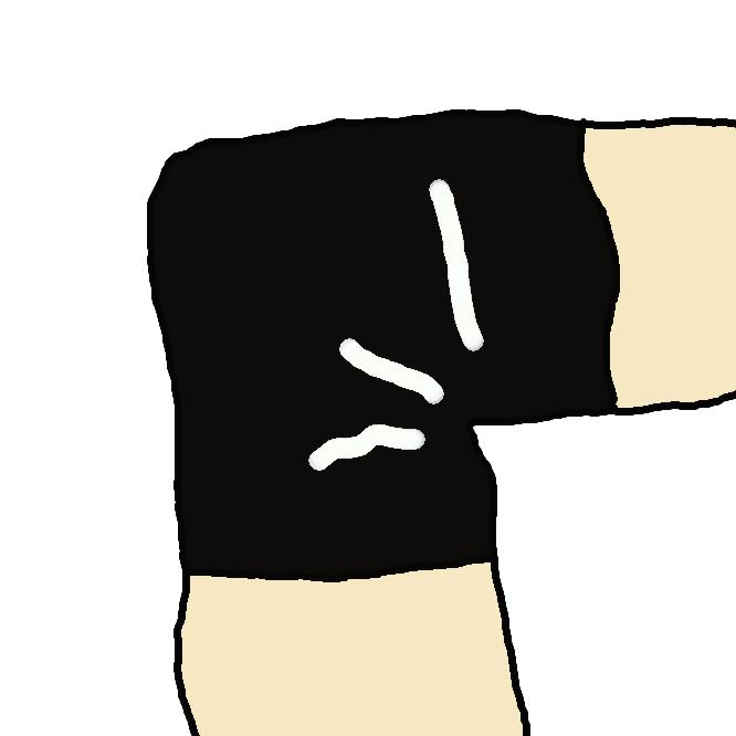 運動の時、体を保護するためにつける、ゴムのはいった布。