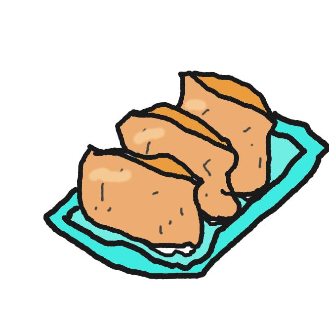 【稲荷寿司】甘辛く煮た油揚げの中に、酢飯を詰めた寿司の一種。