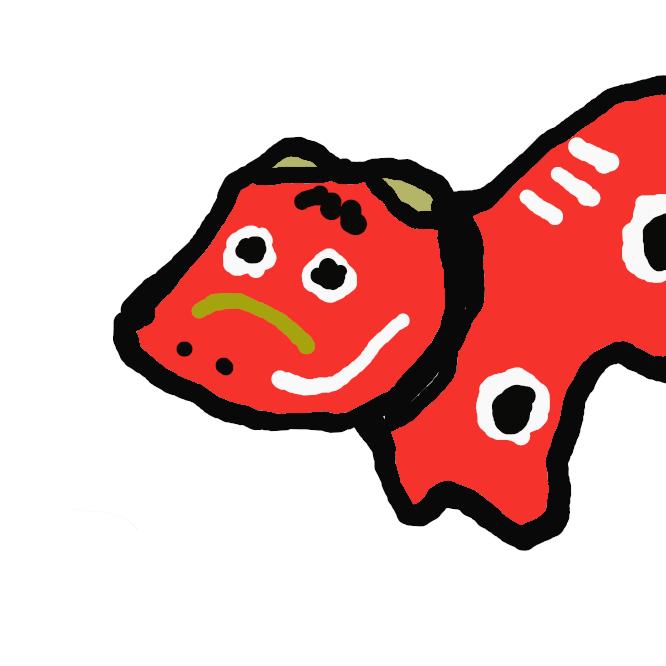 【赤べこ】福島県会津若松市でつくられる郷土玩具。赤く塗った張り子の首振り牛。疱瘡(ほうそう)除けや子育ての縁起物。