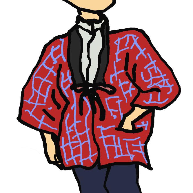 【半纏】羽織に似ているが、わきに襠(まち)がない、丈の短い上着。胸ひもをつけず、襟を折り返さないで着るもの。仕事着・防寒着とする。