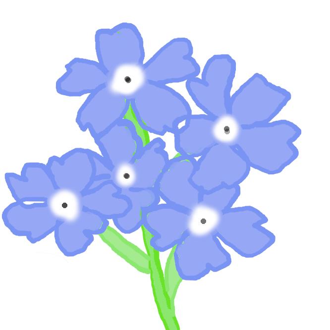 【勿忘草】ムラサキ科の多年草。高さ約30センチ。葉は長楕円形。5、6月ごろ、尾状に巻いた花穂を出し青色の5弁花を多数つける。ヨーロッパの原産で、19世紀にパリでは恋人への贈り物にしたという。