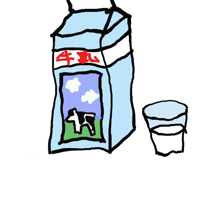 【牛乳】牛の乳。白色の液体で、脂肪・たんぱく質・糖分などの栄養に富む。殺菌などの処理をして飲料とし、バター・チーズ・ヨーグルト・酸乳飲料などの原料とする。ミルク。