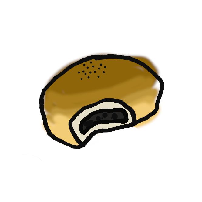 【餡パン】餡入りの丸いパン。明治7年(1874)東京銀座の木村屋が、米と麹(こうじ)で生地を発酵させる「酒種(さかだね)あんぱん」を創製。