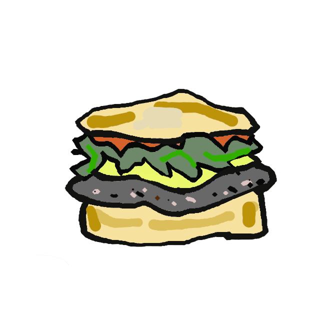 丸いパンにハンバーグステーキを挟んだもの。