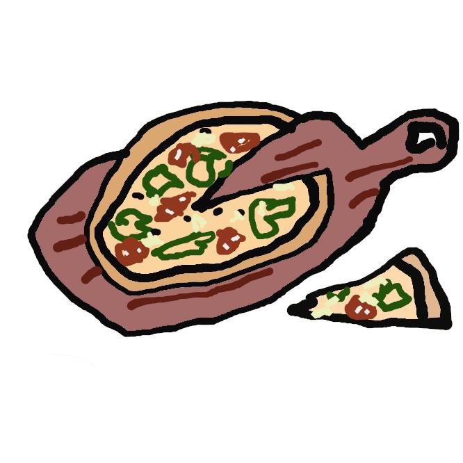 イタリアのナポリ周辺を発症とする料理で、小麦粉を練って広げた生地の上にサラミ・チーズ・トマトなどを乗せて窯で焼いた食べ物のこと。