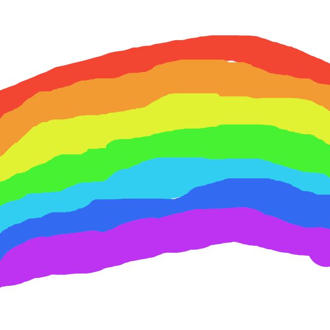 【虹】雨上がりに、太陽と反対方向の地表から空にかけて現れる7色の円弧状の帯。空中の水滴によって太陽光が分散されて生じる。