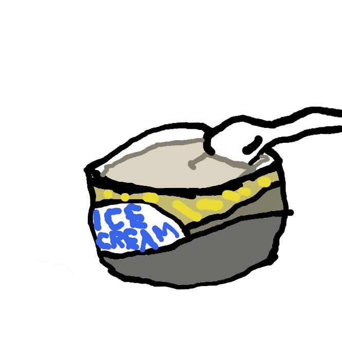 牛乳・砂糖・卵黄に香料を加えて凍らせた氷菓子。