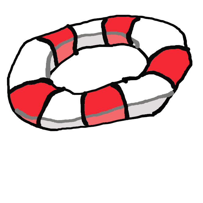 【浮き輪】環状の浮き具。浮き袋や木製のものなど。