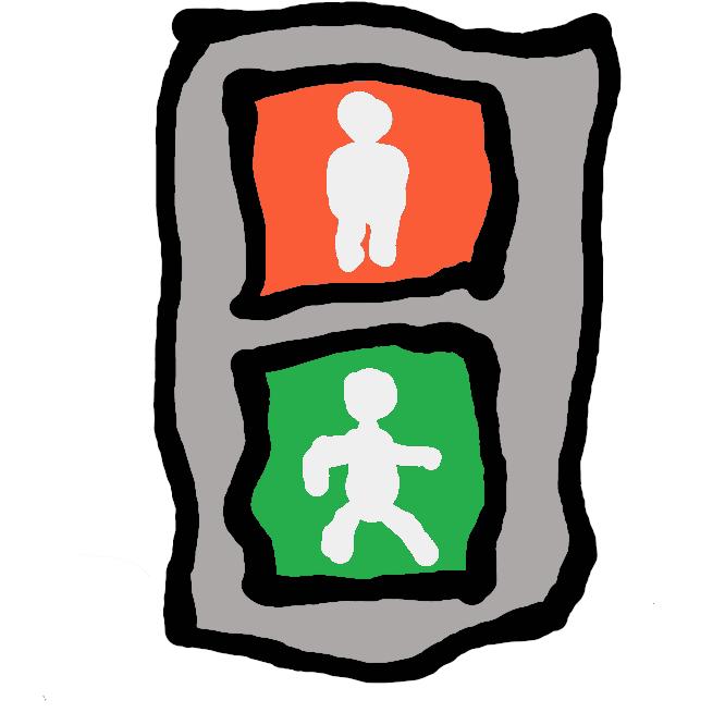 【歩行者用信号】表示面は一辺の長さが200〜250 mmの正方形である。信号交差点に横断歩道が設置されている場合は原則として歩行者用信号機を設置しなければならない。1つの横断方向に対しては青・青点滅・赤を同時に表示してはならず、青→青点滅→赤→青の順に表示しなければならない。歩行者用のものは縦型で、下が青、上が赤の配置となっている物が多いが、横型のものも存在する。歩行者用のものは信号機の中にイラストが描かれていて、青は歩いている人、赤は立っている人のイラストとなっている。