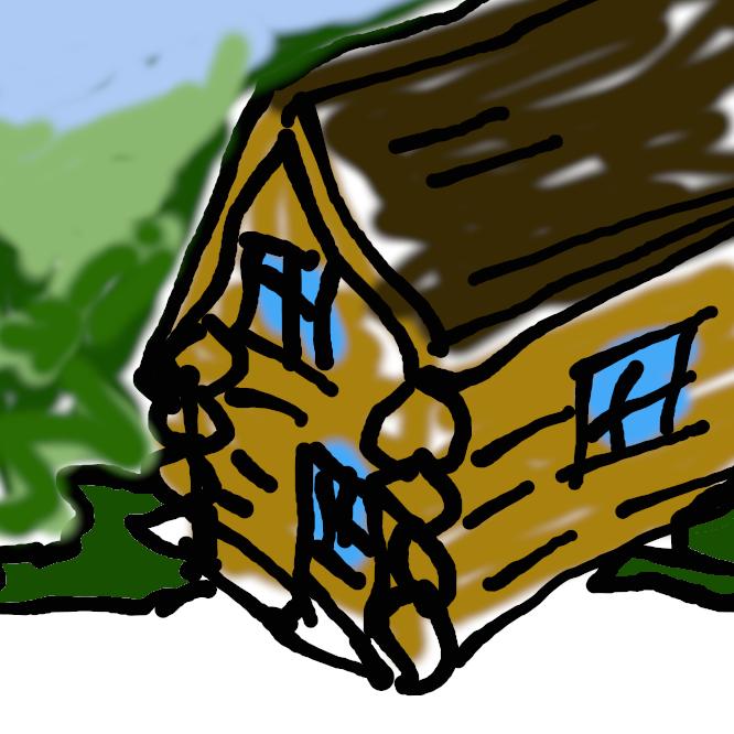 【丸太小屋】基本的にはログ(丸太)または角材を構造材として水平方向に井桁のように重ねて積み上げ、交差部にはノッチを使って組み上げた家屋・建築物。