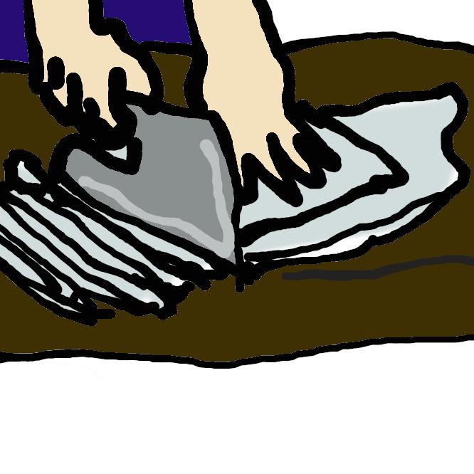 【切る】つながっているものを断ったり、付いているものを離したりする。特に、刃物などでものを分け離す。