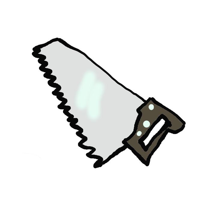 【西洋のこぎり】薄い鋼板のふちにたくさんの歯がつけてあり、木材を断ち切るのに使う工具。特に押して切る道具。