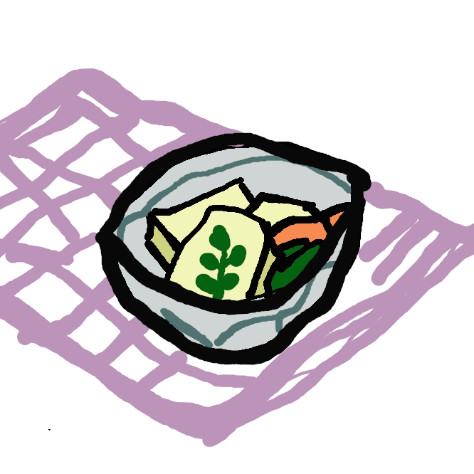 【高野豆腐】豆腐を凍らせてから乾燥させた食品。本来は冬の寒気を利用して作るが、今では冷凍機・乾燥機を利用して作るものも多い。