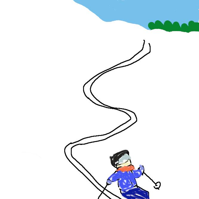 スキーで滑ったときに雪上に残る跡。