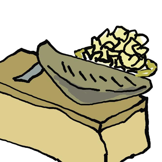 【鰹節】カツオの肉を蒸して干し固め、黴付(かびつ)けと日干しを繰り返したもの。削って料理にかけたり、だしを取ったりして用いる。うまみ成分であるイノシン酸を多量に含む。かつぶし。おかか