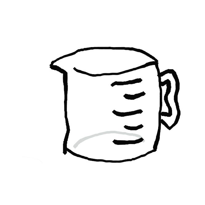 【計量カップ】食品・調味料などを計る目盛りつきのカップ。メジャーカップ。