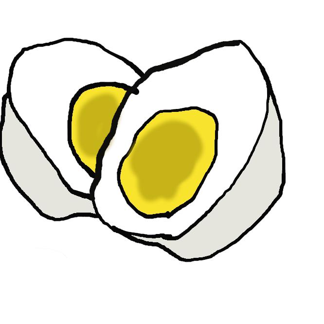 【茹で卵】鶏卵を殻のままゆでたもの。ボイルドエッグ。うでたまご。