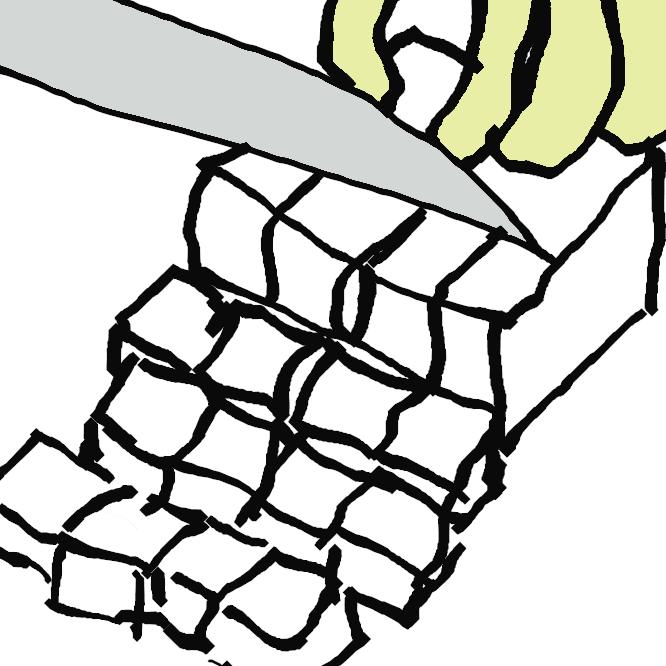 【采の目に切る】さいころ程度の小さな立方体にする切り方です。 角切りは、○cm角、○cmの角切りといった具合に、一辺の長さと共に表します。 また、一辺が5mmのものをあられ切り、1cmのものをさいの目切りともいいます。