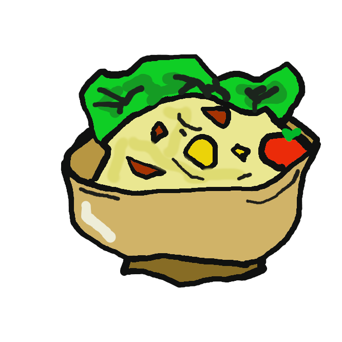 ジャガイモを使ったサラダ。多く、ジャガイモをゆでてつぶしたものに、細かく刻んだ野菜やハムなどを混ぜ、マヨネーズで味付けしたものをいう。