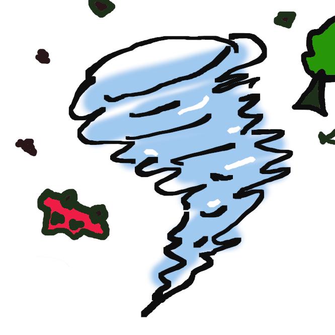 【竜巻】空気の細長くて強い渦巻き。直径数十~数百メートルで、積乱雲の底から漏斗状に雲が垂れ下がり、海面または地上に達する。風速は毎秒100メートルを超えることもあり、海水・砂塵(さじん)を空中に巻き上げ、家屋を破壊する。海上で起こると水を巻き上げ、竜が天に昇るさまに似ているところからいう。