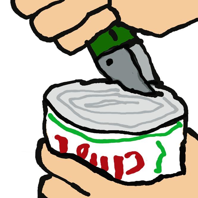 【缶切り】缶詰を切り開く道具。