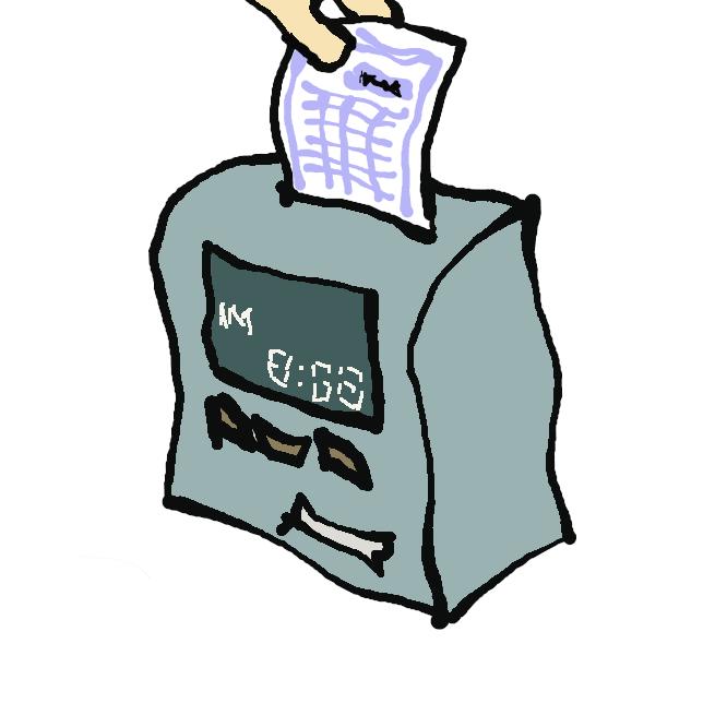 時計と印字装置とを組み合わせ、時刻をカードに記録する器械。従業員の出退時刻の記録などに用いる。