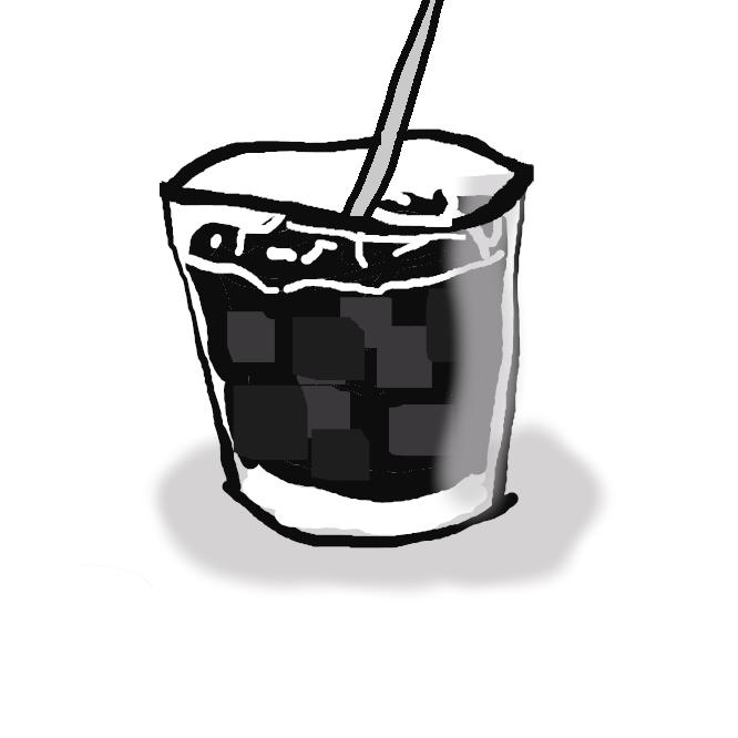 氷で冷たくしたコーヒー。