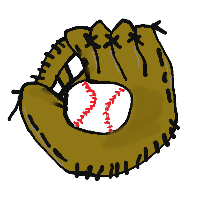 【glove】野球で、捕手・一塁手以外の野手が使う、5指に分かれた革製の手袋。グラブ。
