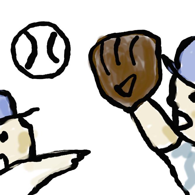 【catch+ball】野球のボールを投げ合うこと。簡単な送球・捕球の練習。