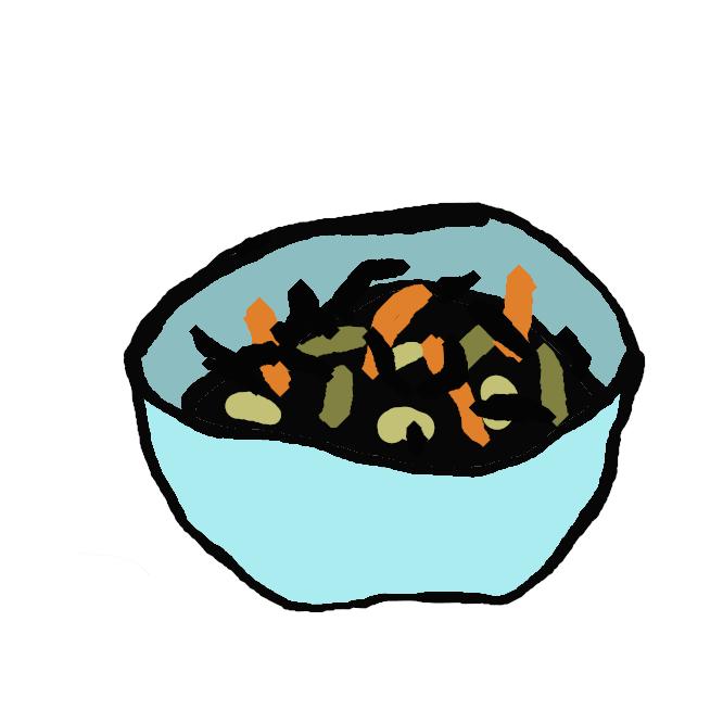 【ひじきの煮物】褐藻類ホンダワラ科の海藻であるひじきを油揚げとにんじん、またはアサリとの組み合わせなどで、たっぷりの煮汁で味をよく染みこませ煮た料理です。