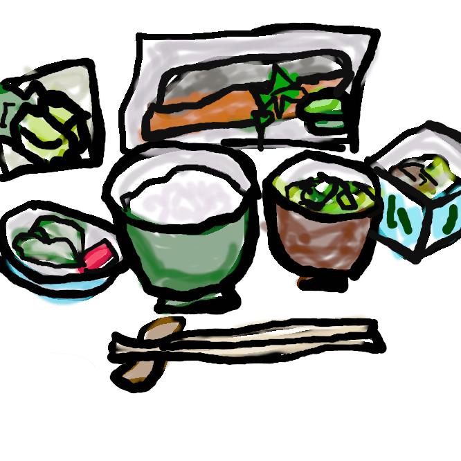 【朝食】朝に摂る食事のことである。朝餉(あさげ)、朝飯(あさめし)、朝御飯(あさごはん)とも。
