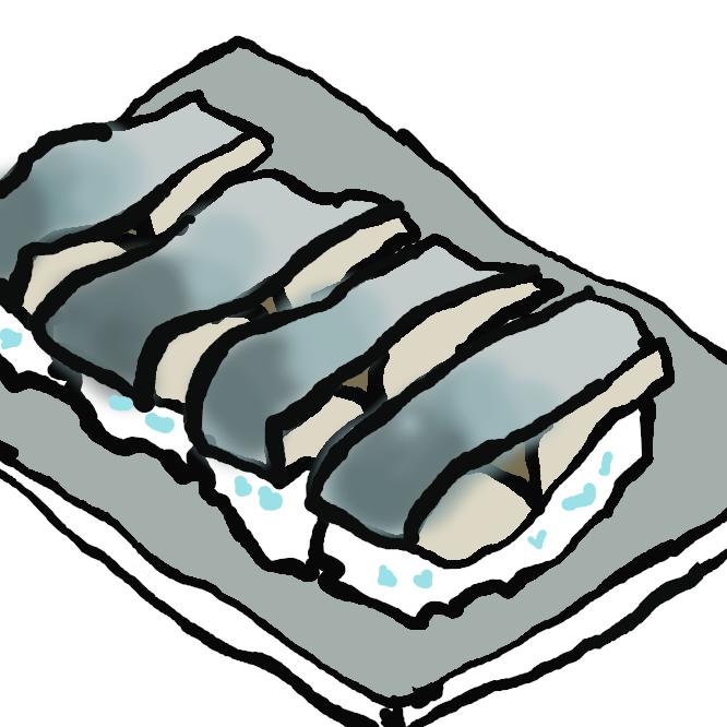 【〆さば寿司】締め鯖を鮨飯にのせた押し鮨。また、箱鮨。京都の棒鮨、高知の姿鮨、奈良吉野の柿の葉鮨、和歌山の生なれの下(しも)鮨など。