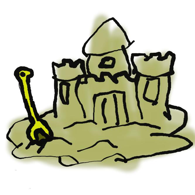 砂のかたまりを彫ったり、削ったりしてつくる城。