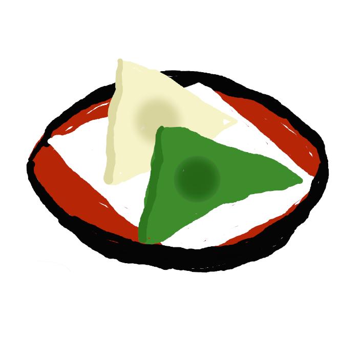 【生八つ橋】 蒸した米粉に砂糖と肉桂粉とをまぜた生地を焼かないで二つ折りにして小豆あんを挟み琴の形に擬した京都の名物。