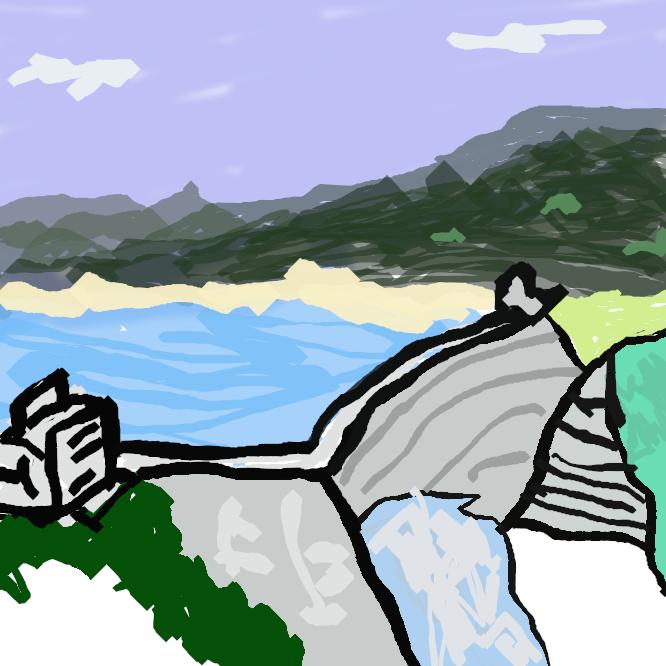 【dam】水力発電や治水・利水、治山・砂防、廃棄物処分などを目的として、川や谷を横断もしくは窪地を包囲するなどして作られる土木構造物。一般にコンクリートや土砂、岩石などによって築く人工物を指す。大規模なダムで川を堰き止めた場合、上流側には人造湖が形成される。