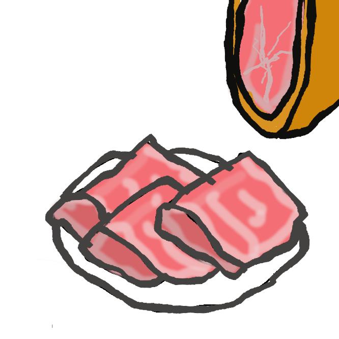 【生ハム】燻煙した後、加熱処理をしないハムの総称。あるいは、燻煙せずに塩漬けしたのみのハムを指す場合もある。