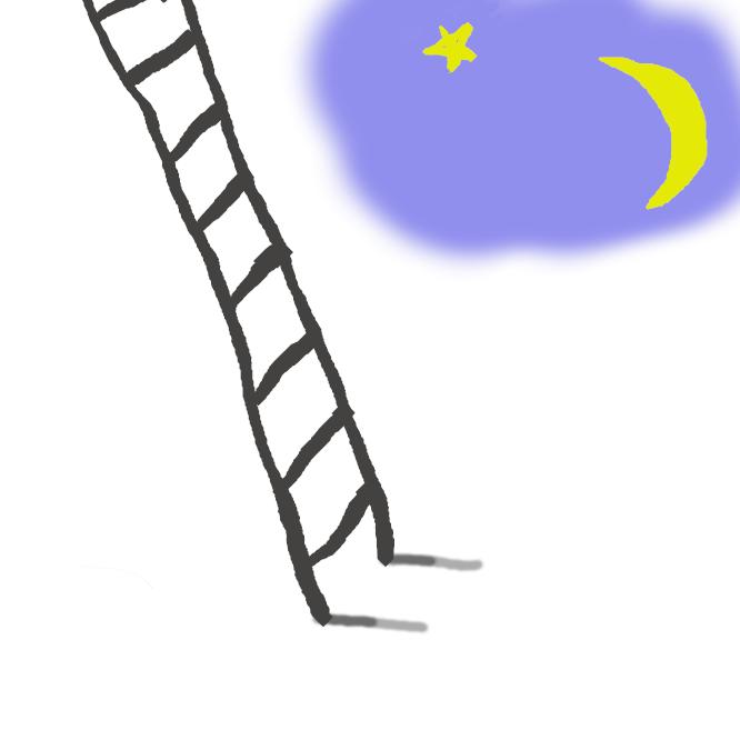 【梯子】高い所へ登るための道具で、長い2本の材の間に足がかりの横棒を何本もつけたもの。立てかけたり、つるしたりして用いる。