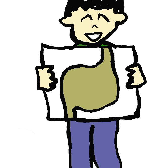 【胃】消化管の一。袋状で、上は食道に、下は十二指腸に連絡し、胃液を分泌して食物を消化する。胃袋。