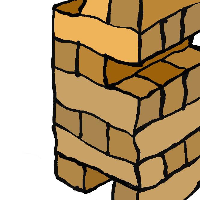 同サイズの直方体のパーツを組んで作ったタワーから崩さないように注意しながら片手で一片を抜き取り、最上段に積みあげる動作を交代で行うテーブルゲーム。おもにパーティーゲームとして利用されている。