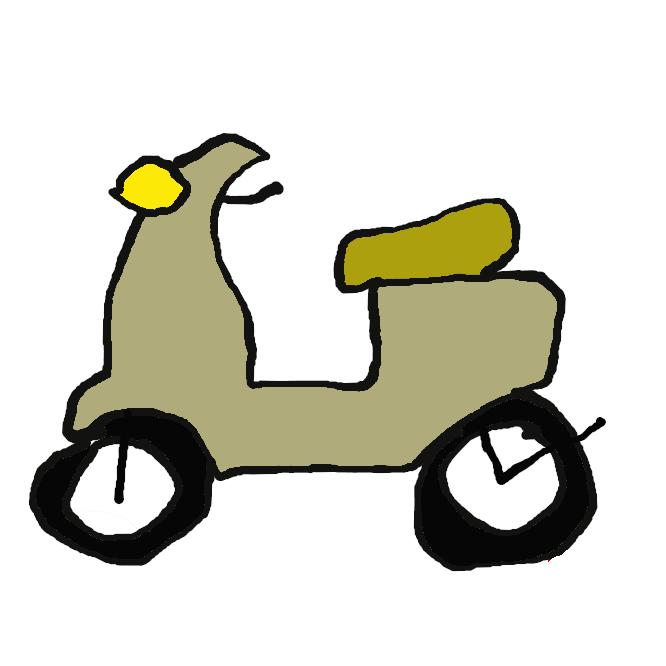 腰かけた形で乗れる、車輪の小さい自動二輪車。