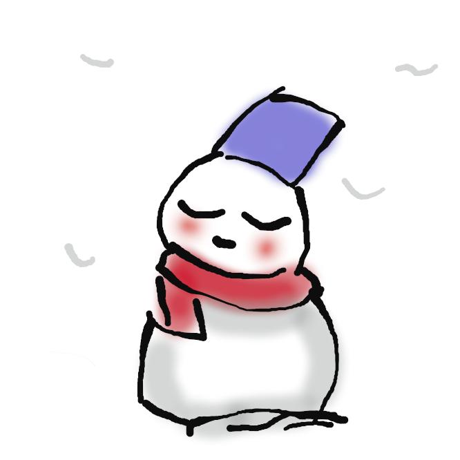 【雪達磨】雪を丸めたものを二つ重ね、木炭や炭団(たどん)などで目鼻口をつけたもの。