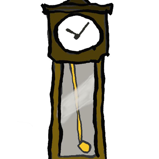 【柱時計】柱や壁に掛けておく時計。掛け時計。