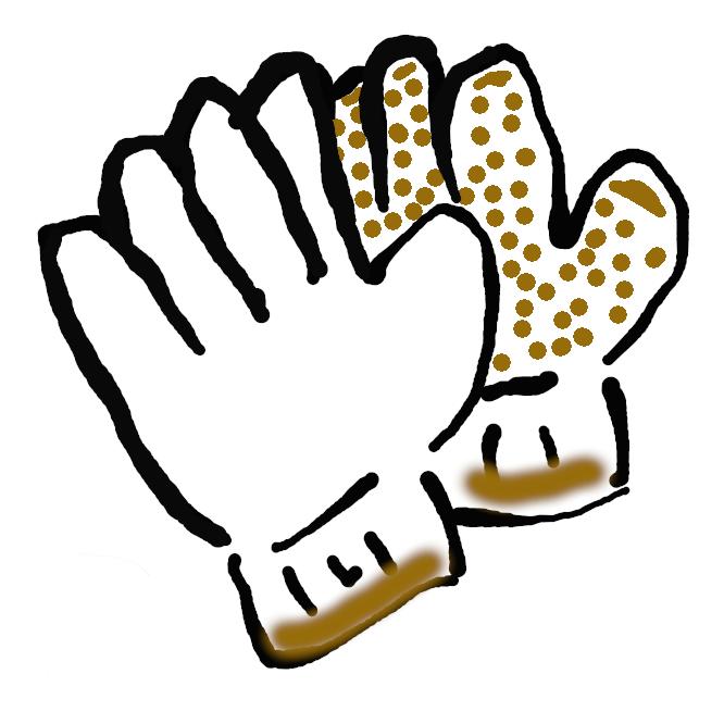 【軍手】太い白の木綿糸で編んだ作業用の手袋。もと、軍用に作られたもの。