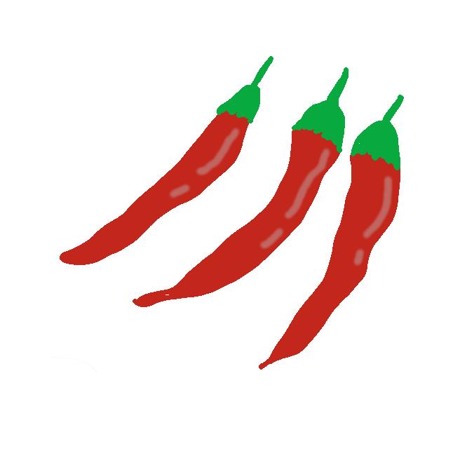 【唐辛子】ナス科の一年草。枝を多く出し、葉は長卵形。夏、葉の付け根に白色の5弁花をつける。実は細長く、初め緑色で秋に熟すと深紅色になる。ふつう果皮や種子の辛味が強く、香辛料や薬用にする。南アメリカの原産。