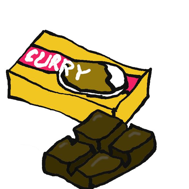 【curry+roux】小麦粉をバターで炒(いた)め、カレー粉を混ぜ合わせたもの。調理済みのものが、固形またはペースト状・フレーク状などで市販されている。